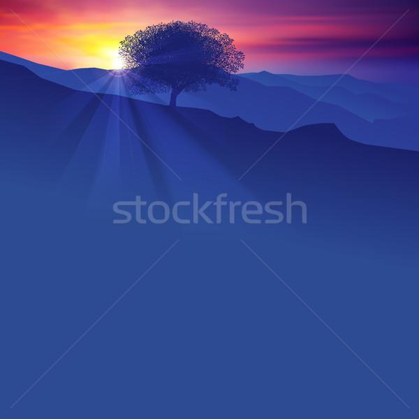 аннотация силуэта дерево гор Восход небе Сток-фото © lem