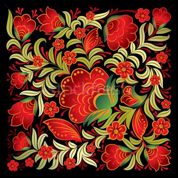 Soyut kırmızı süs yalıtılmış siyah Stok fotoğraf © lem