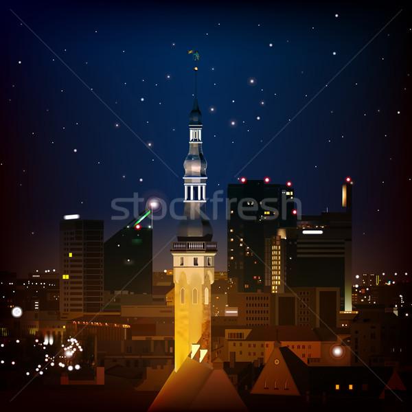 аннотация силуэта город темно синий Таллин Сток-фото © lem
