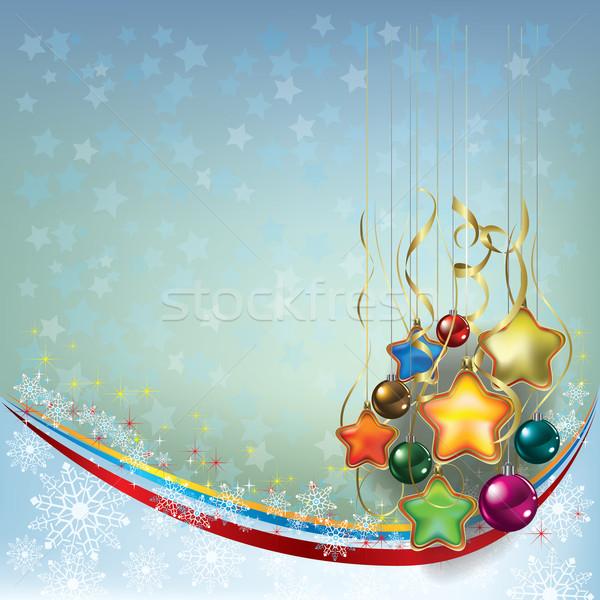 Karácsony üdvözlet dekoráció kék szürke absztrakt Stock fotó © lem