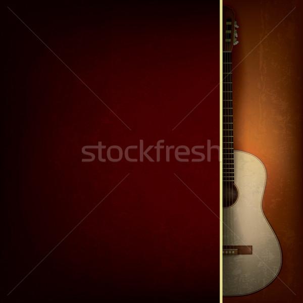 Abstrato jazz música grunge vermelho violão Foto stock © lem