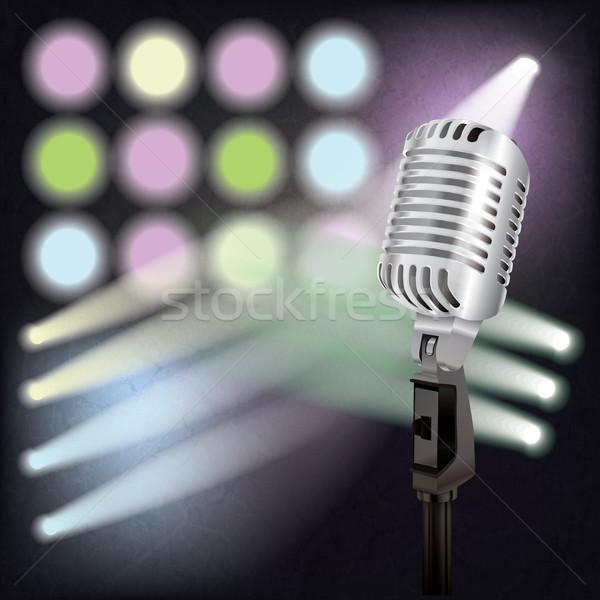 аннотация ретро микрофона этап музыку свет Сток-фото © lem