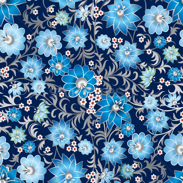 аннотация бесшовный цветочный орнамент темно синий Сток-фото © lem