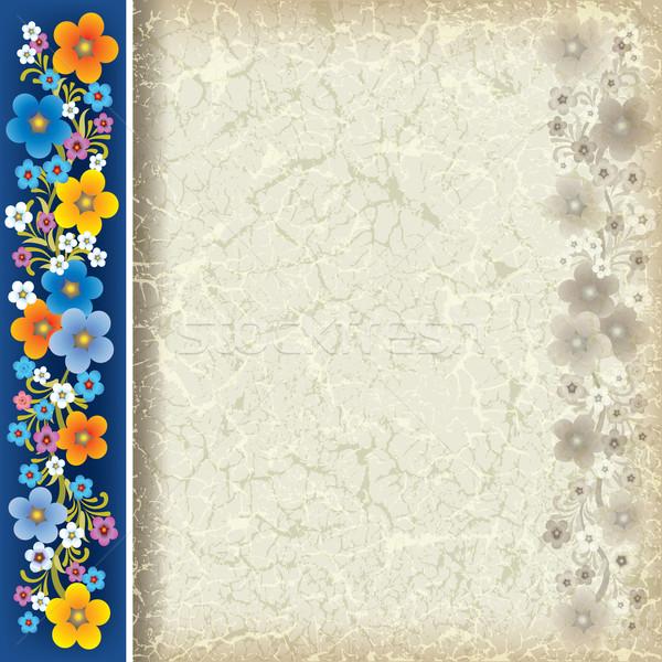 аннотация Гранж цветы бежевый синий цветок Сток-фото © lem