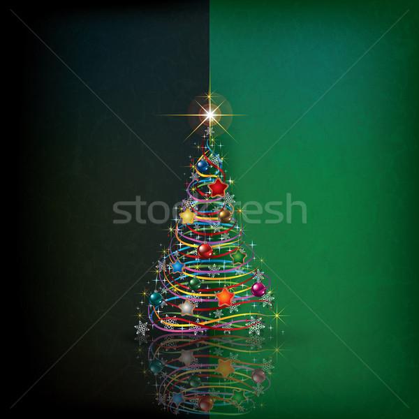 Noel ağacı dekorasyon soyut grunge ışık dizayn Stok fotoğraf © lem