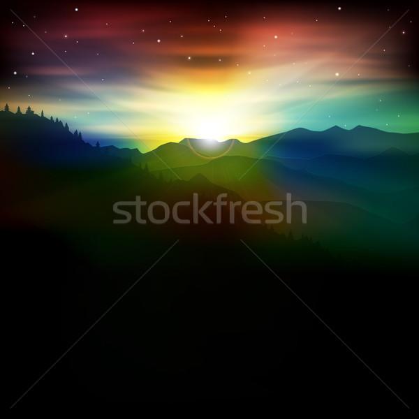 аннотация Восход гор весны морем фон Сток-фото © lem
