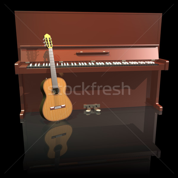 Piano and guitar isolated on a black background Stock photo © lem