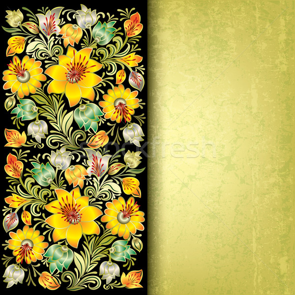 abstract grunge background with spring floral ornament Stock photo © lem