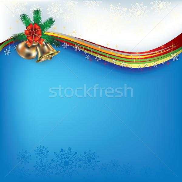 Рождества приветствие лук аннотация синий дерево Сток-фото © lem