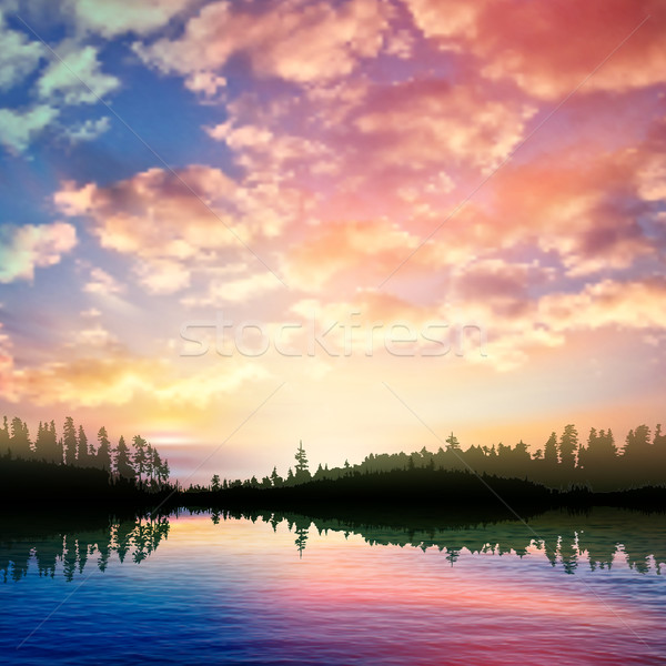 abstract nature background with sunrise on forest lake and cloud Stock photo © lem