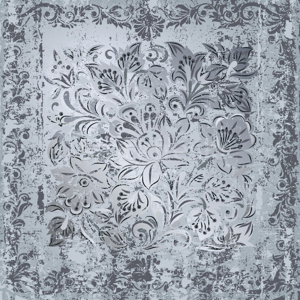 abstract grey floral ornament on rusty silver background Stock photo © lem