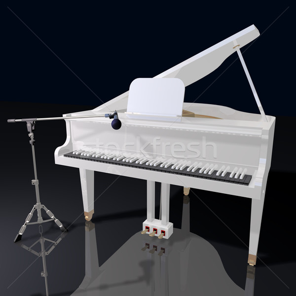 gand piano and microphone on a black background Stock photo © lem
