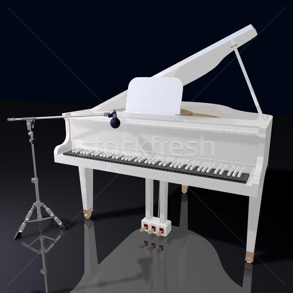 Piano micrófono negro música fondo etapa Foto stock © lem