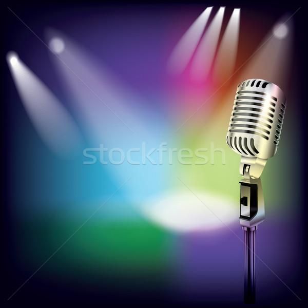 Absztrakt dzsessz zene retro mikrofon színpad Stock fotó © lem