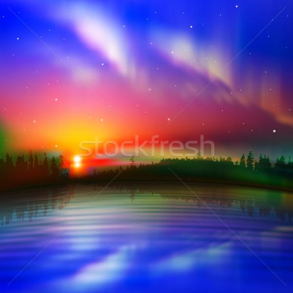 Absztrakt természet napfelkelte aurora erdő tájkép Stock fotó © lem
