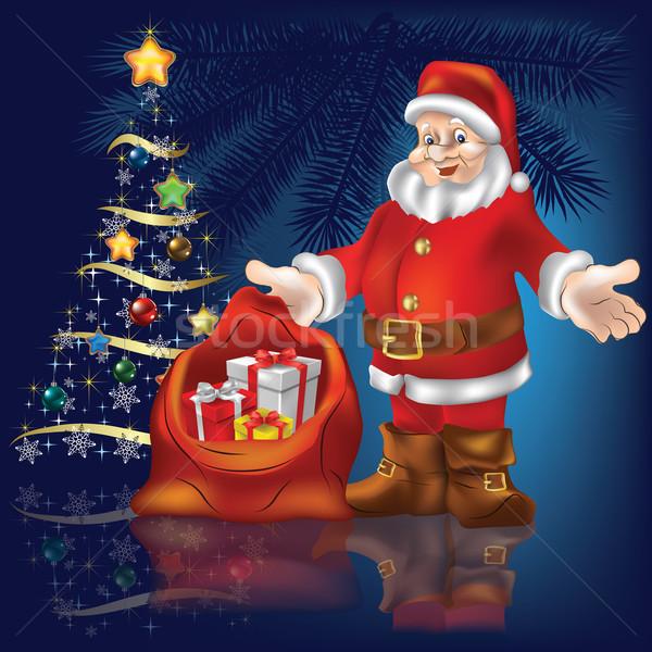 рождественская елка украшение Дед Мороз подарки синий дерево Сток-фото © lem