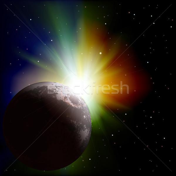 аннотация пространстве звезды луна Восход свет Сток-фото © lem