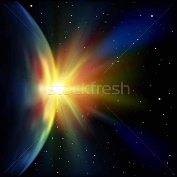 аннотация пространстве звезды иллюстрация земле Восход Сток-фото © lem