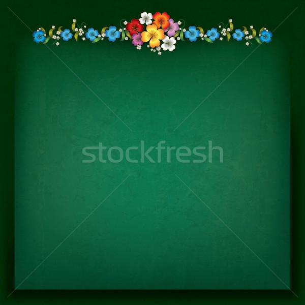 аннотация цветочный зеленый Гранж фон кадр Сток-фото © lem