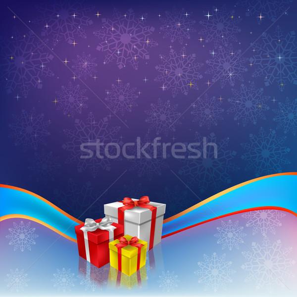 Navidad regalos azul cinta nieve fondo Foto stock © lem
