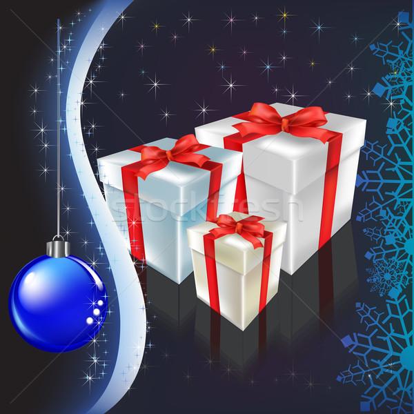 Рождества настоящее лента лук фон звездой Сток-фото © lem