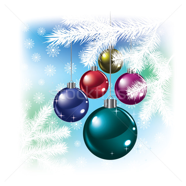 Christmas balls and snowflakes on white Stock photo © lem