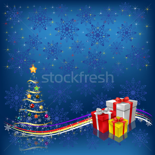 árbol de navidad regalos azul nieve fondo Foto stock © lem