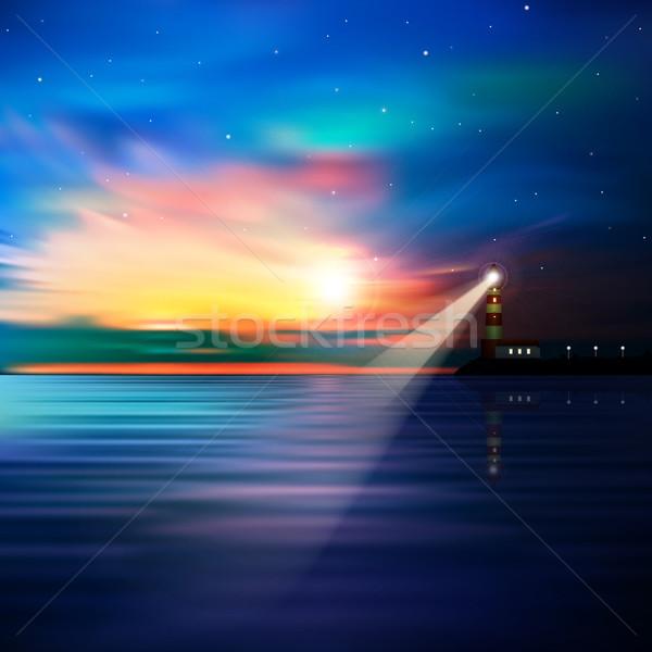аннотация океана Маяк синий звезды Восход Сток-фото © lem
