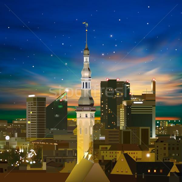 Abstract notte Tallinn tramonto stelle costruzione Foto d'archivio © lem