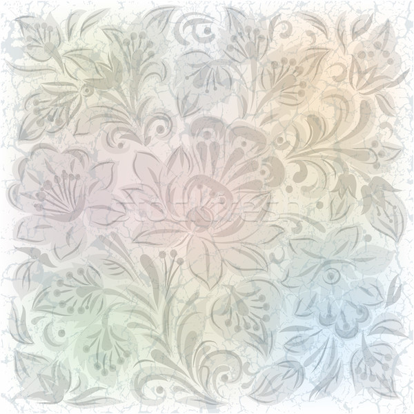 abstract background with gray floral ornament on white Stock photo © lem