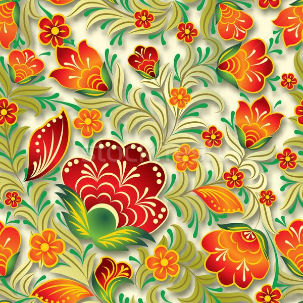 Resumen vintage sin costura floral ornamento rojo Foto stock © lem