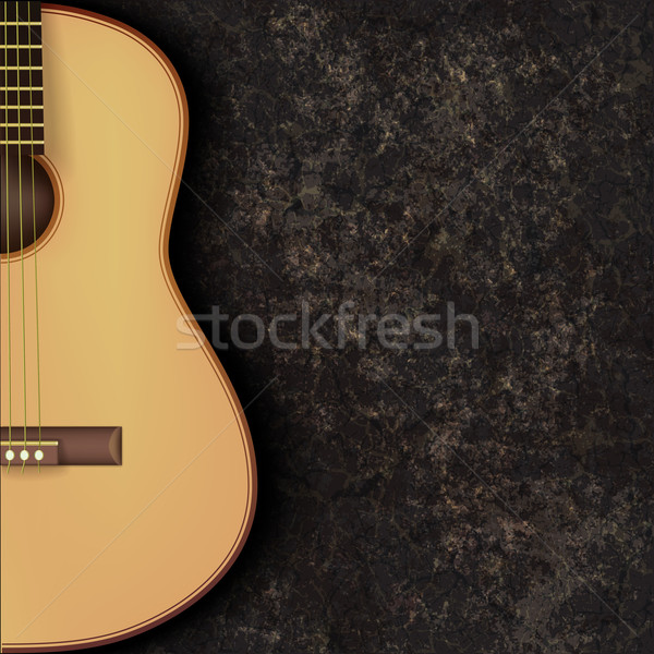 abstract grunge music background with guitar on black Stock photo © lem