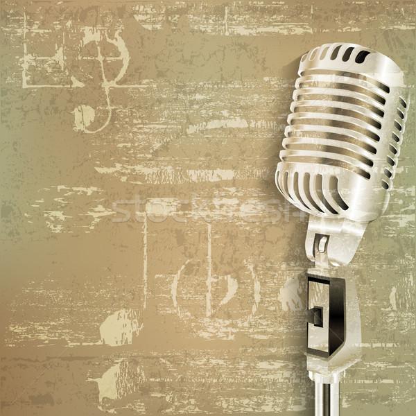 Resumen grunge retro micrófono verde sonido Foto stock © lem