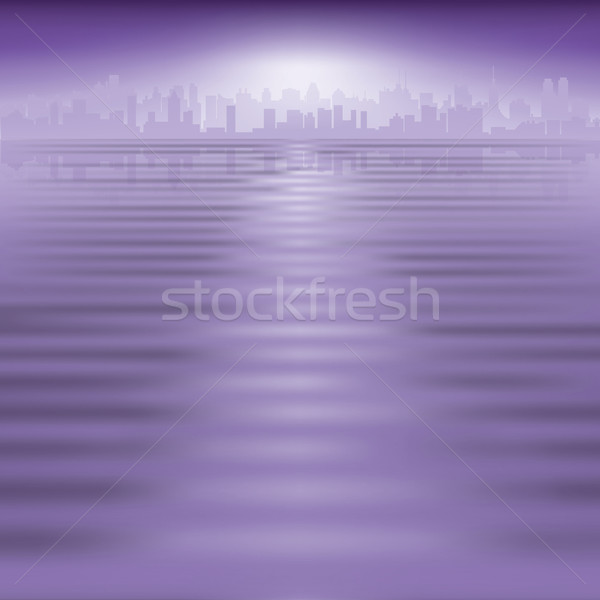 abstract background with silhouette of city Stock photo © lem