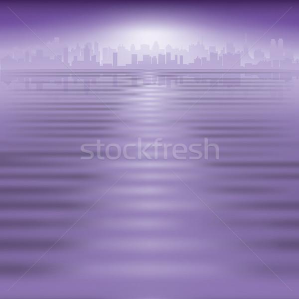 аннотация силуэта город Purple служба глаза Сток-фото © lem
