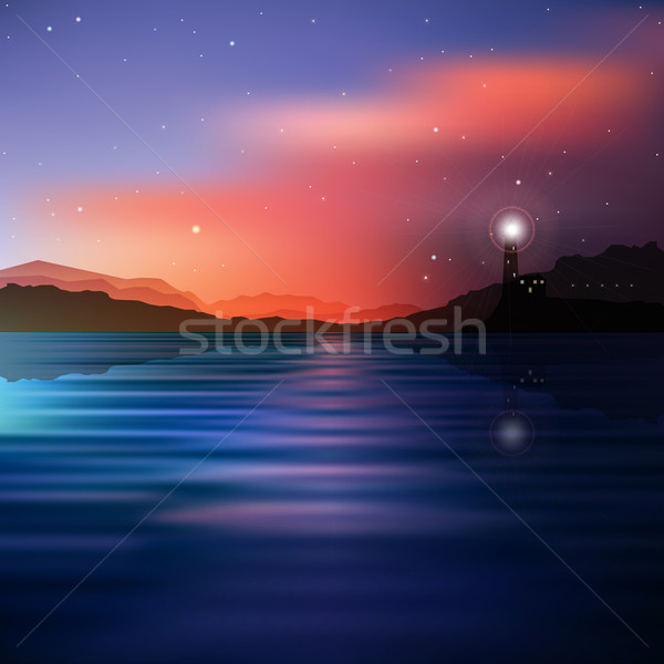 abstract sea background with lighthouse and mountains Stock photo © lem