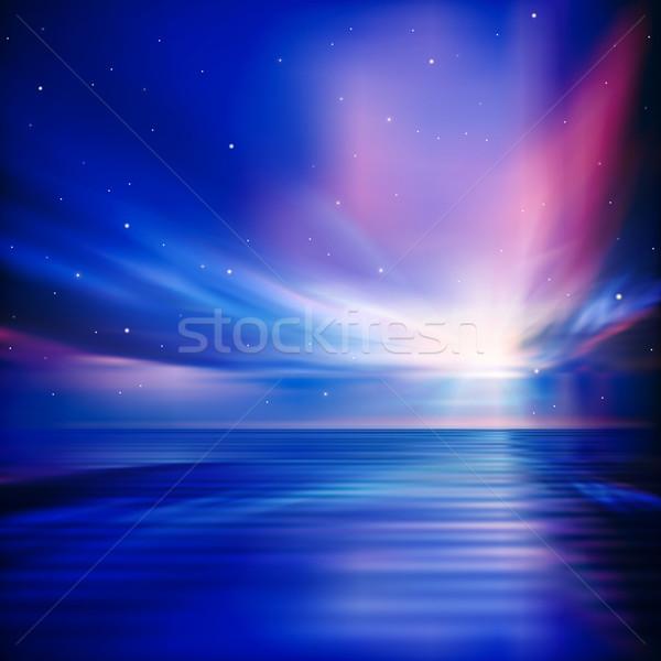 Soyut bulutlar gündoğumu yeşil star gökyüzü Stok fotoğraf © lem