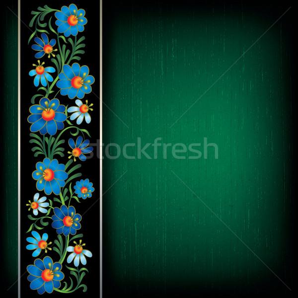 Absztrakt grunge virágmintás kék fa keret Stock fotó © lem