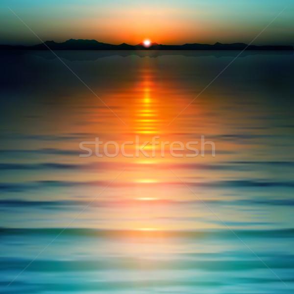 Soyut gün batımı dağlar deniz su doğa Stok fotoğraf © lem