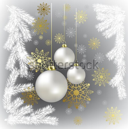 Christmas balls and snowflakes on a blue background Stock photo © lem