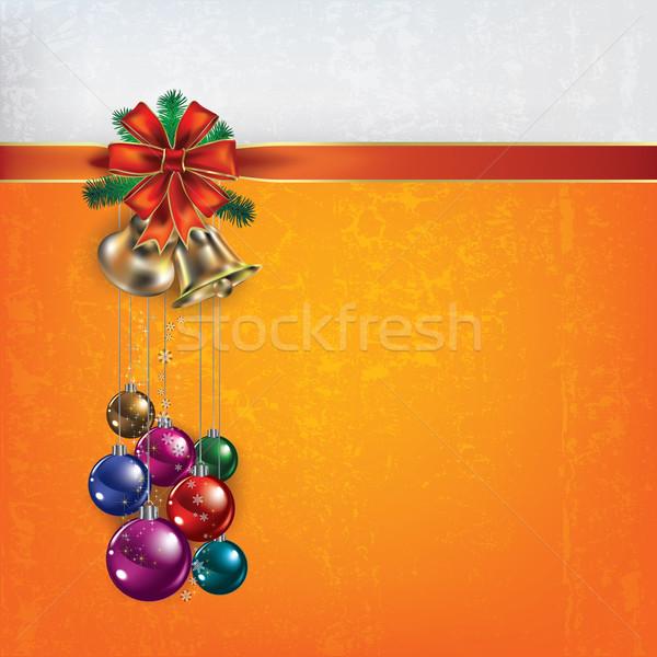 Karácsony üdvözlet ajándék szalagok absztrakt citromsárga Stock fotó © lem