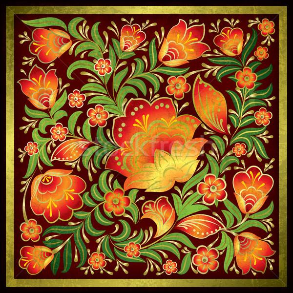 Absztrakt grunge virágmintás dísz piros háttér Stock fotó © lem