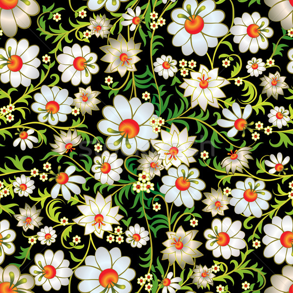 Soyut süs beyaz çiçekler siyah Stok fotoğraf © lem