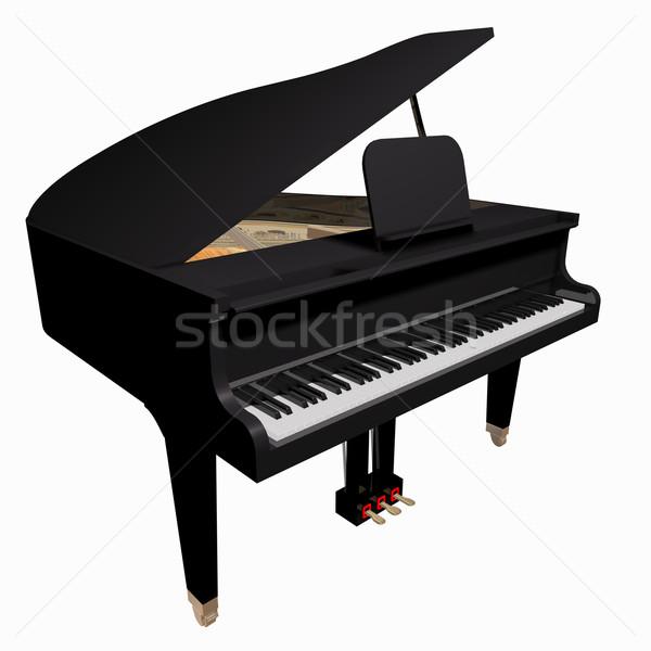 изолированный белый музыку фон микрофона фортепиано Сток-фото © lem
