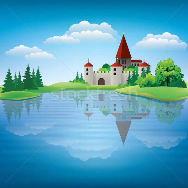 Cartoon hand drawing color castle Illustration Stock photo © lem