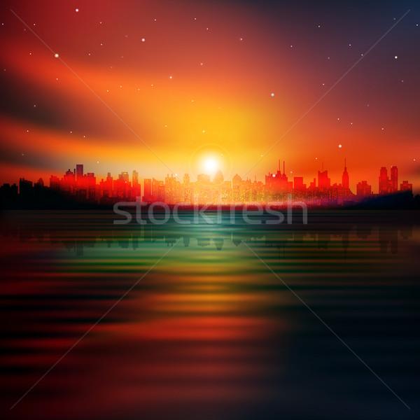 Soyut siluet New York kırmızı gündoğumu Bina Stok fotoğraf © lem