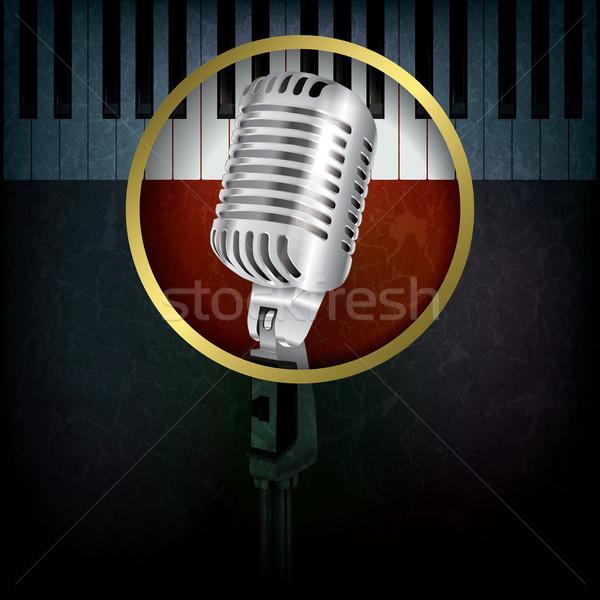 аннотация музыку ретро микрофона Гранж фортепиано Сток-фото © lem