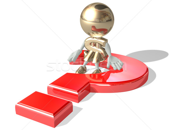 Mr dollar and the big, red question, isolated 3D personage on a  Stock photo © lem