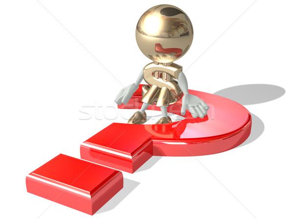 Dolar büyük kırmızı soru yalıtılmış 3D Stok fotoğraf © lem
