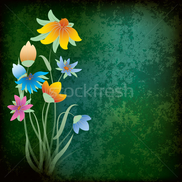 Absztrakt grunge virágok koszos zöld tavasz Stock fotó © lem